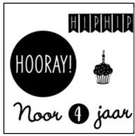 Verjaardag raamsticker hip hip hooray cupcake