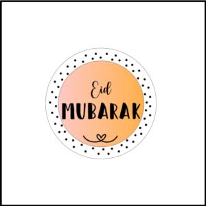 Stickers Eid Mubarak roze-stippen