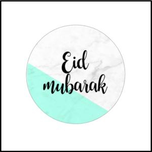 Ramadan stickers Eid Mubarak groen-marmer